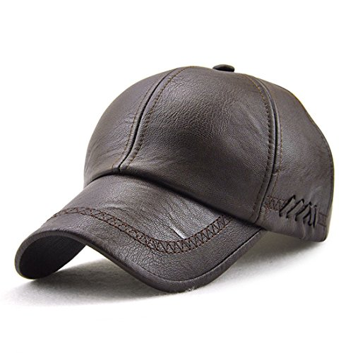 King Star Men's PU Leather Adjustable Winter Warm Baseball Cap Dad Hat Dark Brown