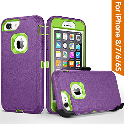 iPhone 8 case,iPhone 7 Case, iPhone 6s Case, FOGEEK Belt-Clip Protective Heavy Duty Kickstand Cover [Shockproof] Cover Compatible for iPhone 8/7/6/6s (NOT Plus) (Purple and Green)
