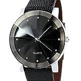 Perman Luxury Men's Unique Quartz Sport Military Stainless Steel Dial PU Leather Band Wrist Watch Black