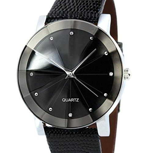 Price comparison product image Perman Luxury Men's Unique Quartz Sport Military Stainless Steel Dial PU Leather Band Wrist Watch Black