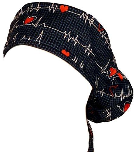 Big Hair Women's Medical Scrub Caps - Heartbeats on Navy