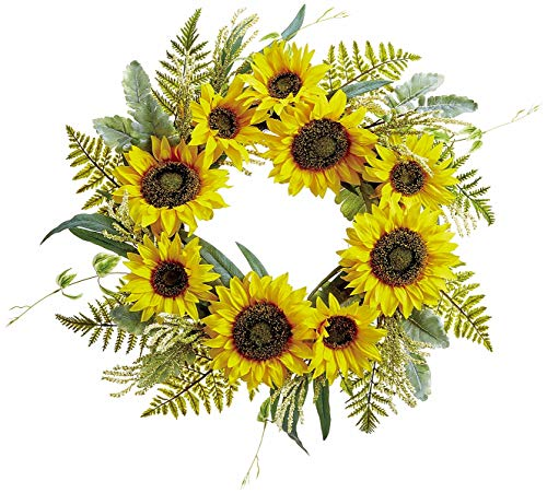 Spiral Wreath Twig - Ten Waterloo 24 Inch Sunflower and Green Floral Wreath on Hand Tied Twig Base, Artificial Floral