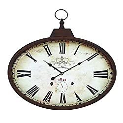 Woodland Imports 66973 Metal Wall Clock Design in Rustic and Unique Pattern