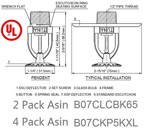 (2 Pack) UL Listed 1/2'' NPT Fire Sprinkler Head 155°F (68°C) Pendent Spray K=5.6 K80 Standard Response for Automatic Fire Sprinkler System Pendent White by Tuna (Image #2)