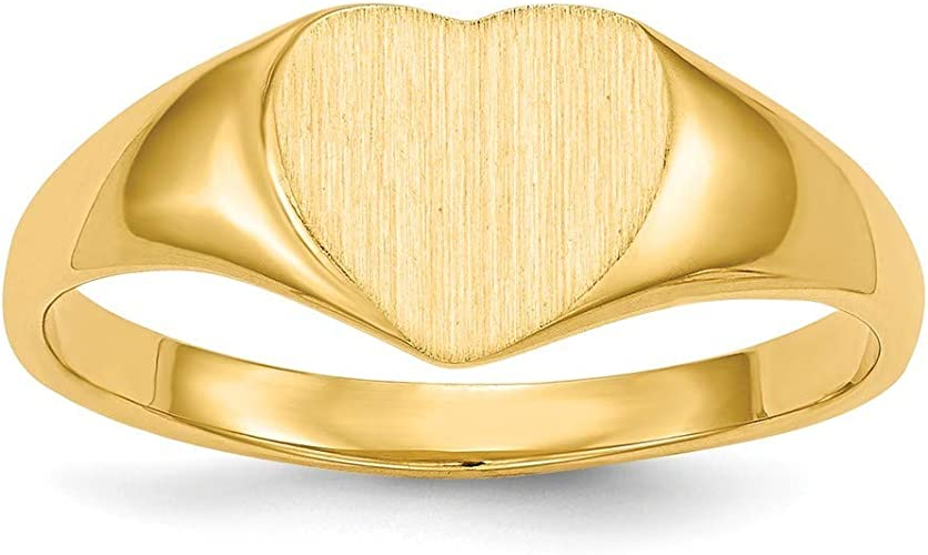 Roy Rose Jewelry 14K Yellow Gold Solid Closed Back Womens Signet Ring Heart Shape Custom Personailzed with Free Engraving Available Initial