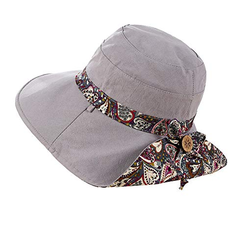 (Fashion Sun Hat Summer UV Protection Beach Hat Wide Brim Roll up Cap Foldable Elegant Bow Sun Hat Double Sided Fishing Hat for Girls Women,Gray )