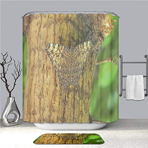 BEICICI Creative Shower Curtain and Bath mat Rug Camouflaged Butterfly on a Tree Custom Stylish,Waterproof,Mildew Proof Bathroom Set