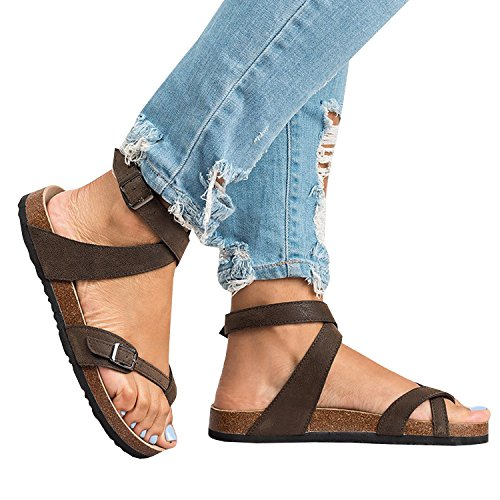 Womens Thong Strappy Gladiator Flat Sandals Summer T Strap Ankle Strap Buckle Cork Sole Flip Flops (Brown Sandals Leather)