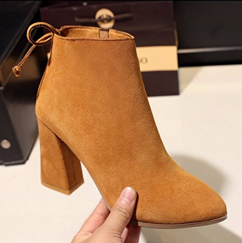 KHSKX-Yellow 8.5Cm Thick And Short Boots Winter New Water Drilling Bow Tie High-Heeled Boots Martin Matt Pointed-Toe Boots 38 hj3iwim5