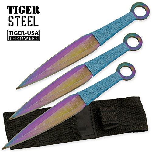 Set 3 Ninja Stealth Titanium Throwing Knives With Black Nylon Sheath Case
