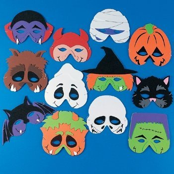 12 Foam Halloween Monster Masks
