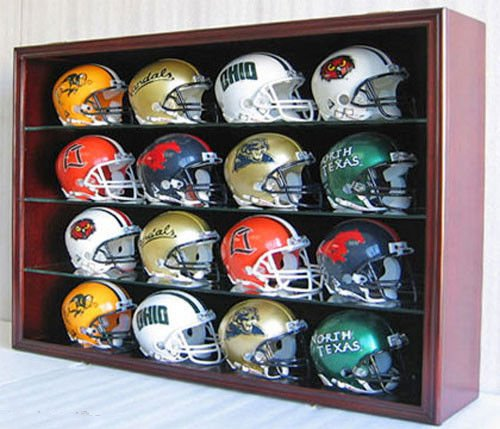 Mahogany 16 Mini Football Helmet Display Case Holder Shadow Box Frame Solid Wood (52 Round Glass Table Top)