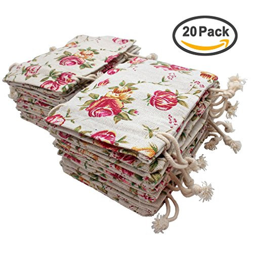 FASOTY 20 Pack Roses Pattern Double Drawstring Linen Bags Burlap Bags with Drawstring Gift Bags Jewelry Pouch for Wedding Party and DIY Craft 3.7 X 5.2 Inch Roses Gift Bag