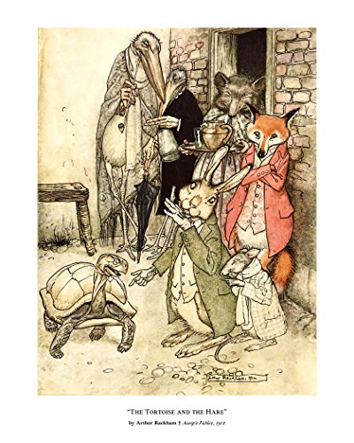 Fine Art Print, The Tortoise and the Hare, Aesop's Fables for Children Poster, Fine