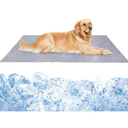 Dog Cooling Blanket Mat, Large Cooling Pad for Dogs & Cats, Pet Self Cooling Blanket for Floor, Kennels, Crates, Beds, Summer Dog Bed Mats, High-Tech Fiber, Soft Breathable Reversible Machine Washable