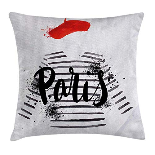 - ZQKCMY Fashion House Decor Throw Pillow Cushion Cover by, Paris Quote Over Beret and Famous Striped Sweater with Grungy Artwork, Decorative Square Accent Pillow Case, 18 X 18 Inches, Black White