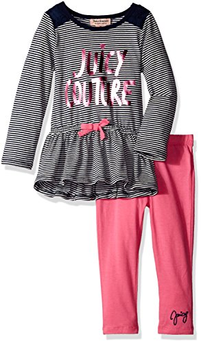 Juicy Couture Cotton Tunic (Juicy Couture Little Girls' Striped Tunic with Solid Legging, Pink,)