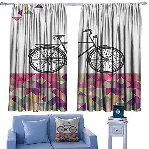 (Mannwarehouse Polyester Curtain Vintage Gemoteric Art Decor Bike Over Multicolor Diamonds Set of Two Panels 72