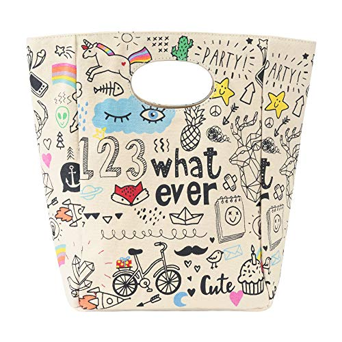 - Fluf Canvas Lunch Bag | Lunch Box for Men, Women, Kids | Organic Cotton Meal Tote with Built-In Handle | Whatever