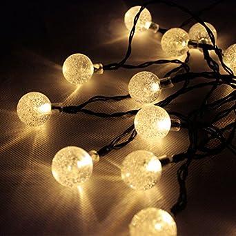 6 m Guirlande solaire 30 LED Ampoules Globe Jardin Boules Blanc ...