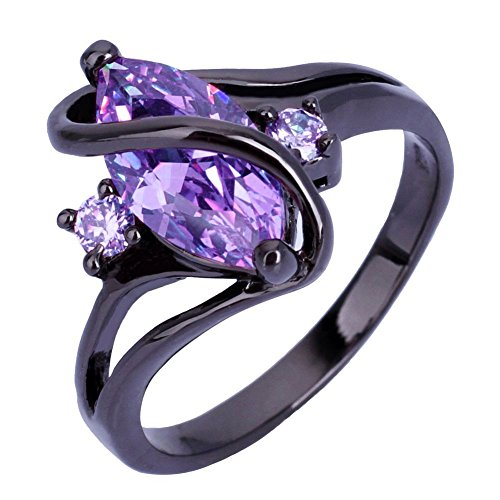 Zealmer Marquise Setting Promise Ring Statement Violet Crystal Band Ring 8