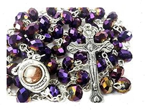 Purple Glass Crystal Beads Rosary Necklace Holy Soil Medal Silver Plated New in ()
