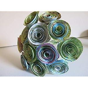 "World Atlas Roses, 1.5"" Paper Flowers on Stems, One Dozen, Travel Theme Birthday Party Decor, Wedding Decor, Bridal Shower Centerpiece, Map Flowers 28"