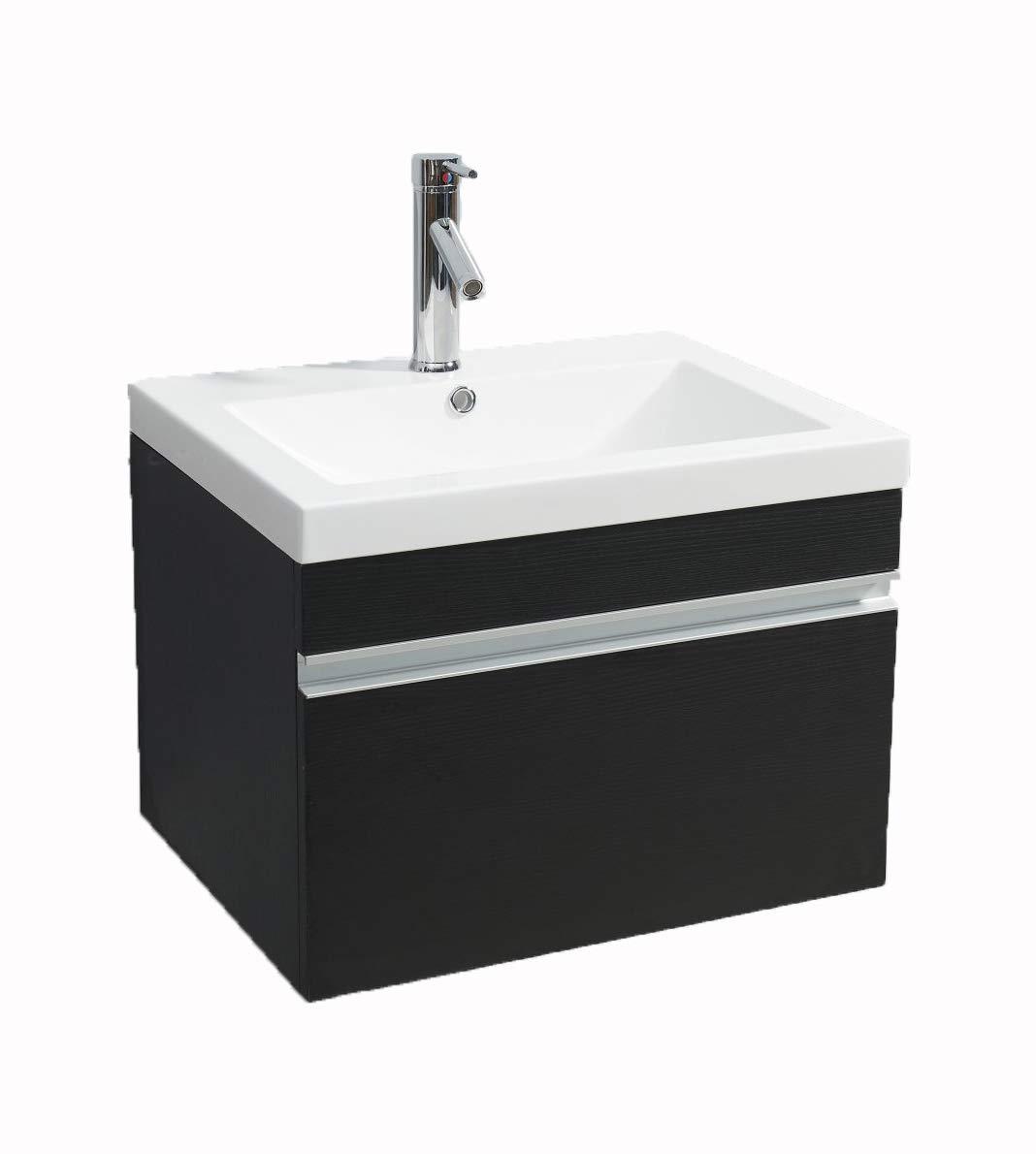 Vs alexius black vanity sink 24 inch floating wall hung mount bathroom modern contemporary corian one piece toilets amazon com