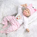 """UCanaan Reborn Baby Dolls 22"""" Soft Cloth Body Silicone Realistic Lifelike Newborn Slepping Baby with 2 Sets Clothes"""