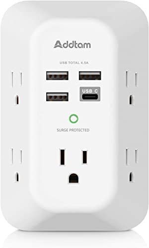 USB Wall Charger, Surge Protector, 5 Outlet Extender with 4 USB Charging Ports ( 1 USB C Outlet, 4.5A Total) 3-Sided 1800J Power Strip Multi Plug Outlets Wall Adapter Spaced for Home Travel Office