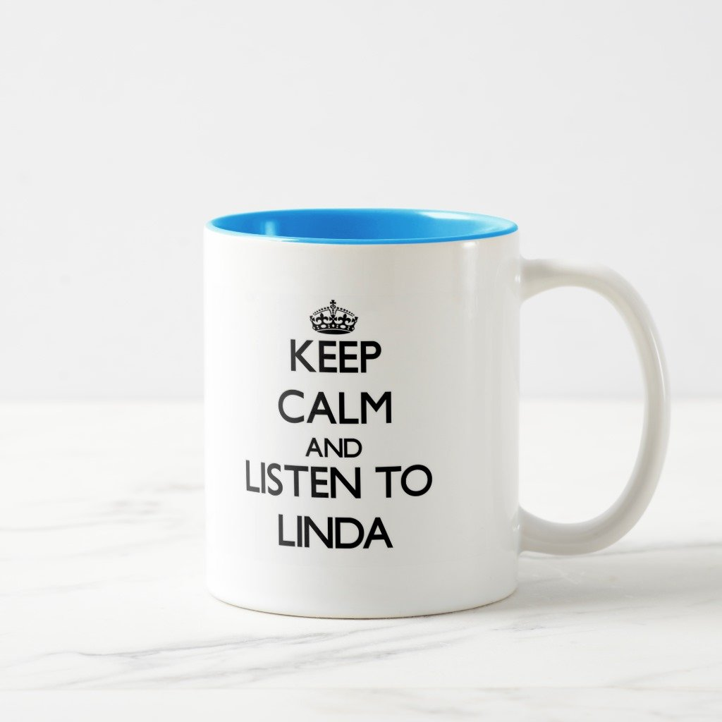 Zazzle Keep Calm and Listen toリンダ旅行マグ 11 oz, Two-Tone Mug ブルー 9d611e90-b6d3-db57-62e1-ac140d5ccb06 B078VZ6NCF 11 oz, Two-Tone Mug|ライトブルー ライトブルー 11 oz, Two-Tone Mug