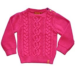 Kids Cotton Cable Knit Jumper Pink Ages 1-2