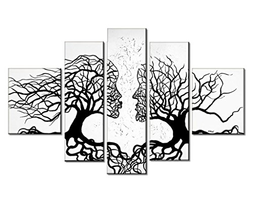 100% Hand-Painted Oil Paintings Black and White Human Body Romance Kiss Couple Tree 5-Piece Abstract Clouds Lovers African Landscape Framed Hanging Wall Decoration For Bedroom Room by uLinked Art