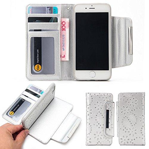 SRY-Bolsa para teléfono móvil Funda de cuero PU 2 en 1 cubierta de la caja de la cartera desmontable con ranuras para tarjetas y solapa magnética para el iPhone 7 ( Color : White ) Gray