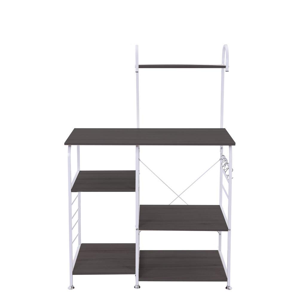 Black C-Easy Multifunctional Kitchen Shelf Rack Microwave Oven Floor Shelf Storage Cupboard Kitchen Shelves for Home Products,Rice Cookers,Microwave Ovens 90X42X130.5CM