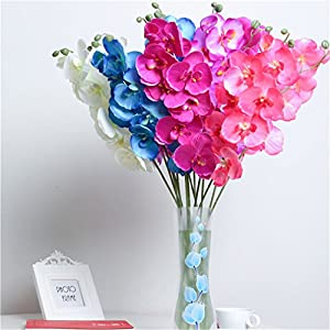 Orchid Artificial Flowers DIY Artificial Butterfly Orchid Silk Fake Flowers Bouquet Phalaenopsis Wedding Home 111