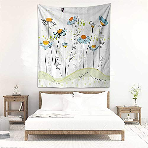 Godves Fashion Tapestry Floral Gardening Theme Daisy Flowers in Spring Illustration Romantic Design Wall Hanging Carpet Throw 40