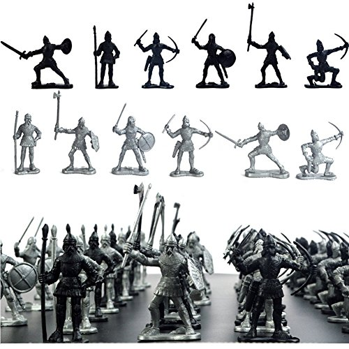 60 pcs/lot Sliver Black Warriors Medieval Soldiers Military Figures Toy Archaic Soldiers Middle Ages Knights