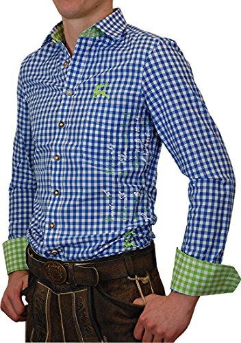 OS Trachtenhemd Quintus II Slim Line mit Druck vorne und hinten in verschiedenen Ausführungen, Größe:Halsgröße 39/40 (M);Farbe:mittelblau grün