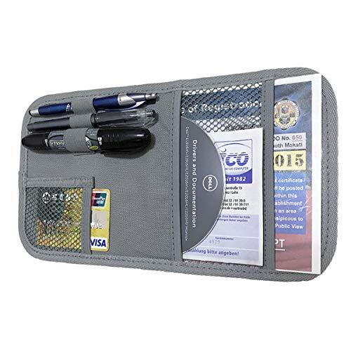 ZugGear Car Sun Visor Organizer, Auto Visor Holder Interior Accessories Pocket Organizer – Car Registration Holder Document Storage Pouch Pen Holder – Grey