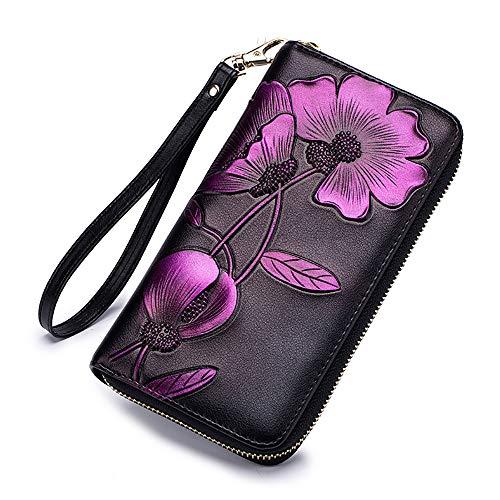 Wallets For Women, Leather Hand Painted Flowers Purse RFID Wristlet Clutch(RFID Flower Purple) ()