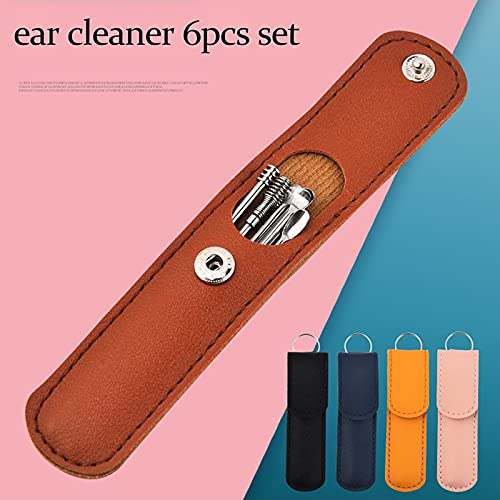 6-in-1 Earwax Removal Kit, Innovative Spring Earwax Cleaner Tool Set, Reusable Ear Cleaner for Children and Adults, Portable Ear Cleaning Kit for Home and Travel with PU Leather Case (Brown)