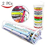 Youngever Wrapping Paper Organizer and Ribbon Organizer - Extra Long (36'') Clear Gift Wrap Organizer (Heavy Duty PVC Clear Wrapping Paper Storage) and Clear Ribbon Organizer