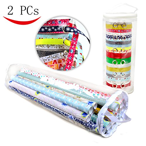 Wrapping Paper Organizer and Ribbon Organizer , Extra Long (36'') Clear Paper Wrap Organizer (Heavy Duty PVC Clear Wrapping Paper Storage) and Clear Ribbon - Container Gift Wrap