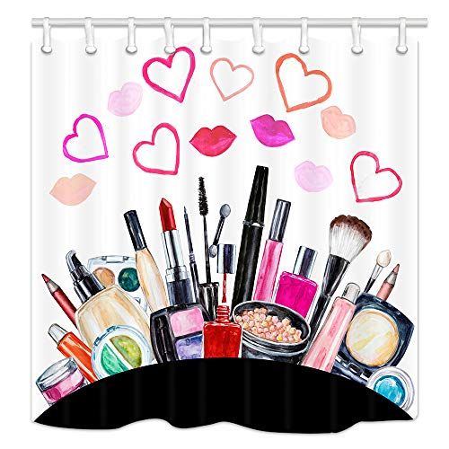 NYMB Teen Girls Makeup Shower Curtain, Watercolor Cosmetic Lipstick Perfume in Heart LipsFabric Shower Curtains for Bathroom, Fashion Woman Shower Curtain Hooks Rings, 70X70in (Diva Shower Curtain)