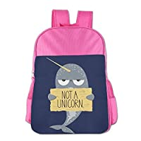 Gibberkids Kids NOT A UNICORN SEAL School Backpack Bookbag Boys/Girls For 4-15 Years Old Pink