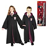 Harry Potter Gryffindor Robe Glasses and Wand Child Costume Bundle Set Medium