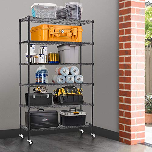 """BestMassage 6 Tire Wire Shelving Unit NSF Storage Shelves Large Heavy Duty Metal Shelf Organizer Height Adjustable Commercial Grade Steel Rack 2100 LBS Capacity with Wheels 82""""x48""""x18"""",Black"""