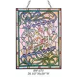 HF-171 Vintage Tiffany Style Stained Glass Decorative Flowers Window Hanging Glass Panel Suncatcher, 26.5''x20''