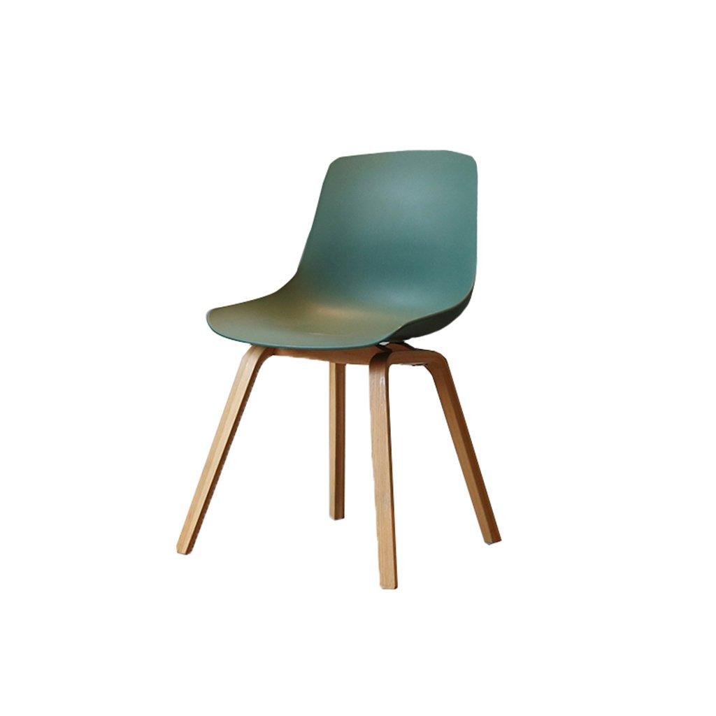 ノーザンシンプルオーク朝食木製のバースツールグリーンティックプラスチックシートと背もたれバーチェア大人のダイニングチェアコーヒーチェア多機能オフィスチェア世帯 B07D8RJR47